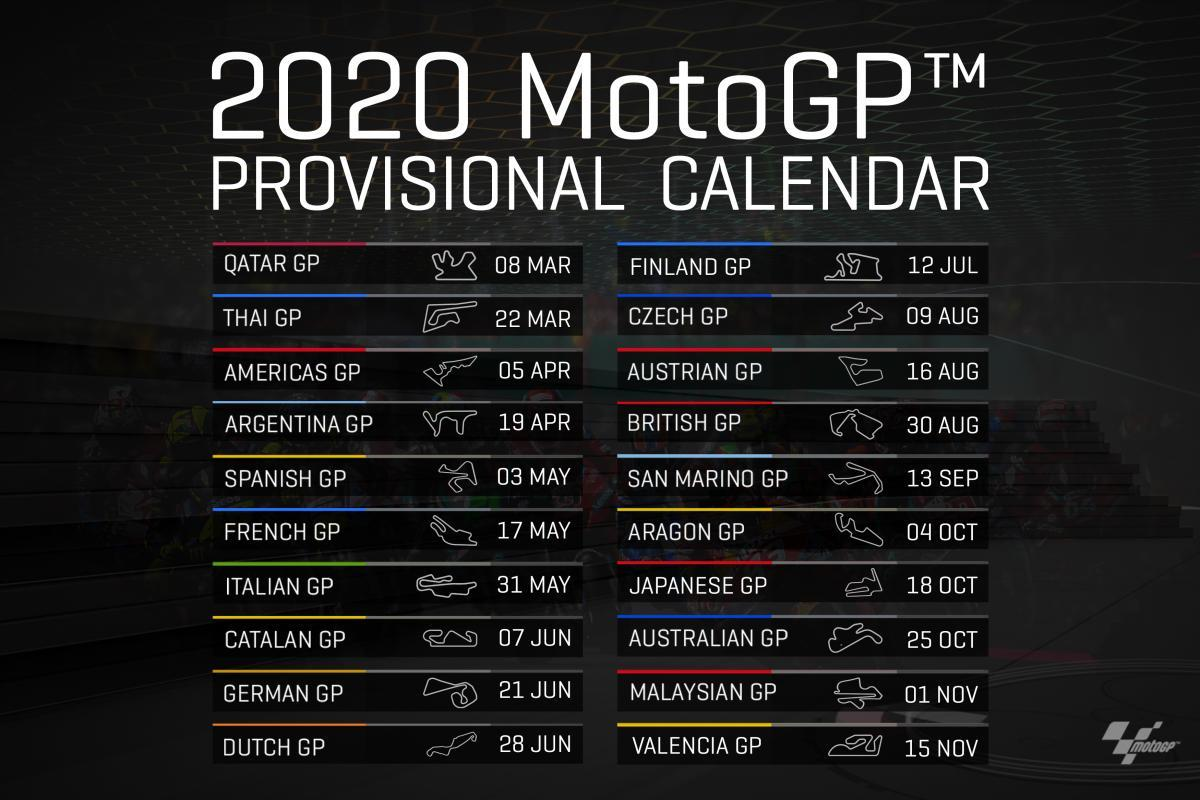 MotoGP 2020 Provisional 2020 Calendar